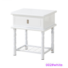 Modern White Wood and Metal Bedside Table Nightstand (002#White)